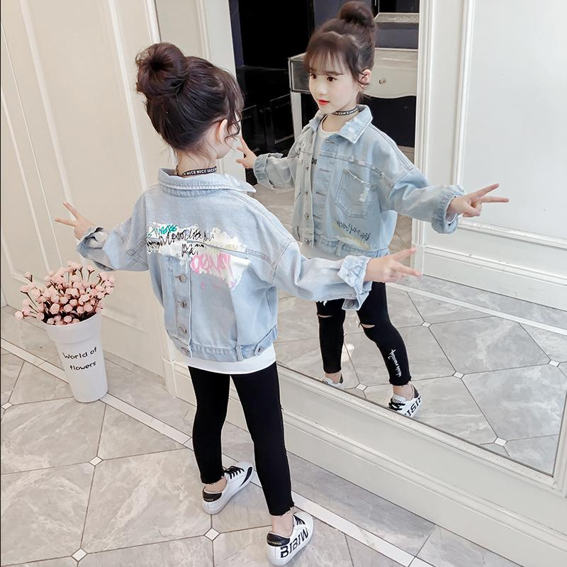 Active Baby Girls Denim Jacket 2019 Spring New Letter Printing Jean Coat Long Sleeve Single-breasted Casual Outerwear Kids Jacket Y960