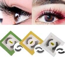 1Pair Hot 3D Glitter Mink Hair False Eyelashes Fluffy Wispy Thick Lashes Handmade Makeup Extension Tools maquiagem
