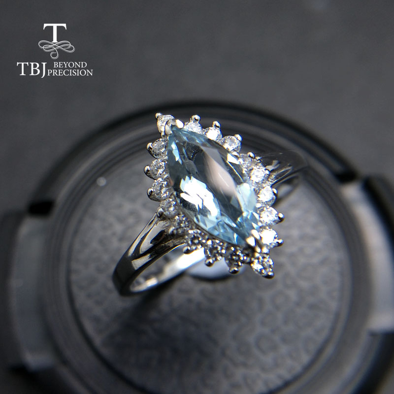 TBJ 100 natural Brazil aquamarine mq5 10 0 75ct diana gemstone ring in 925 sterling silver