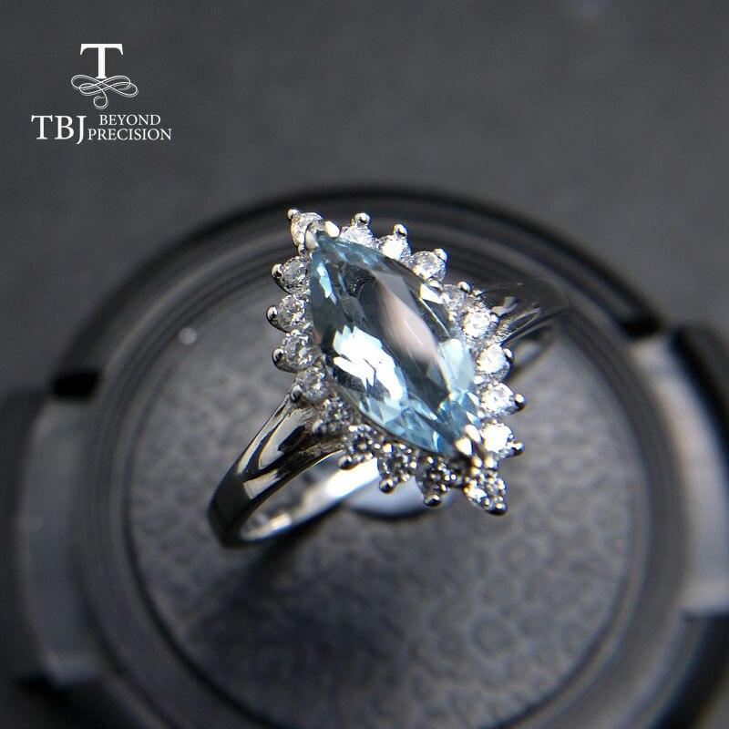 TBJ, 100% aigue-marine naturelle du brésil mq5 * 10 0.75ct diana bague en pierres précieuses en argent sterling 925 bijoux en pierre précieuse avec boîte-cadeau