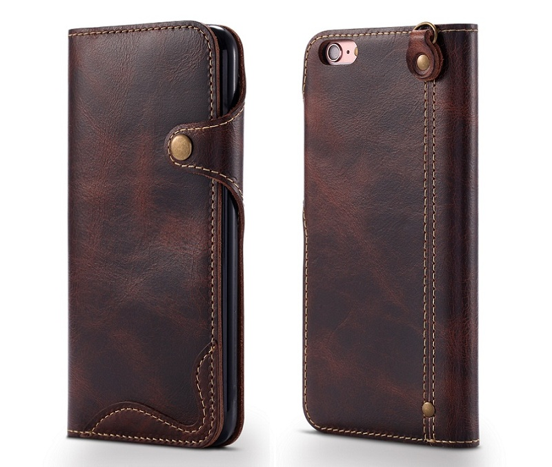 brown genuine leather case for iphone 6 plus 6s plus luxury card slot wallet flip cover