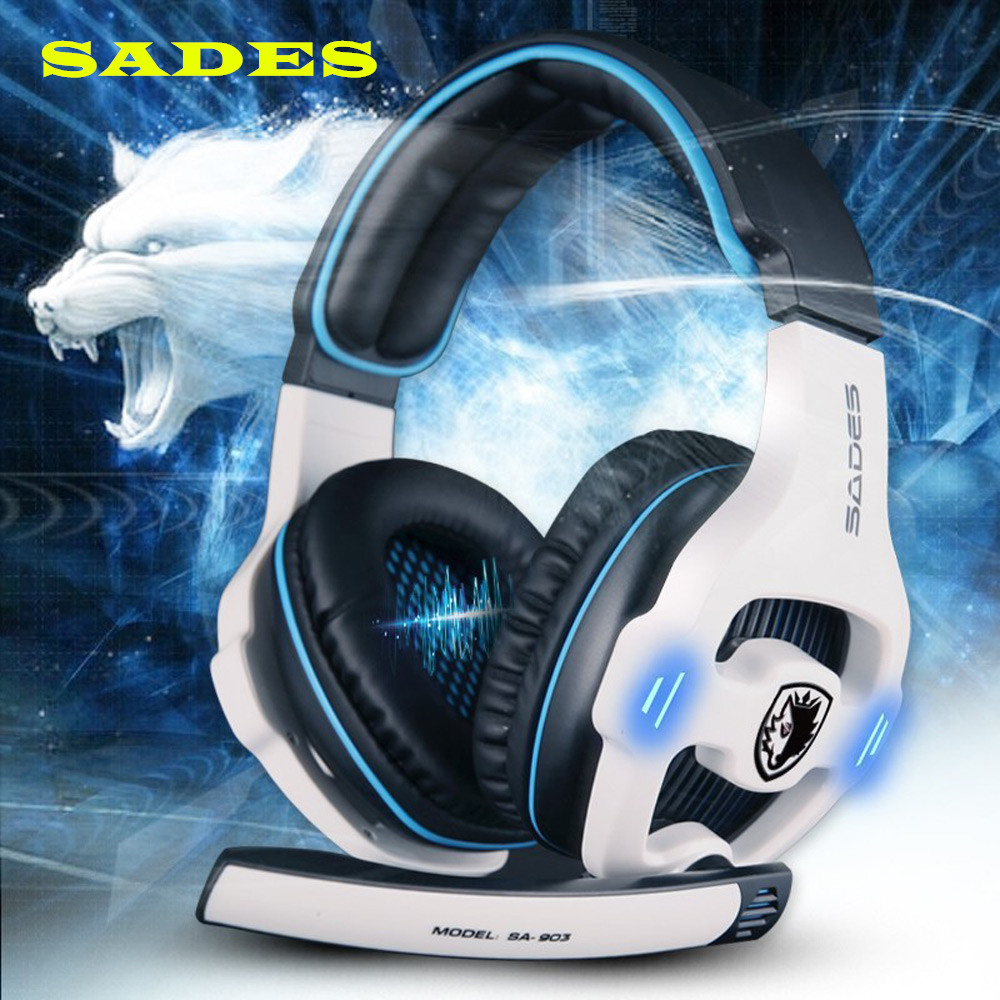 SADES SA-903 Stereo 7.1 Surround Sound Pro USB Gaming Headset with Mic Control Noise Computer Headset Gaming Headphone sades a6 usb 7 1 surround sound stereo gaming headset headband over ear headphone with mic volume control led light for pc gamer