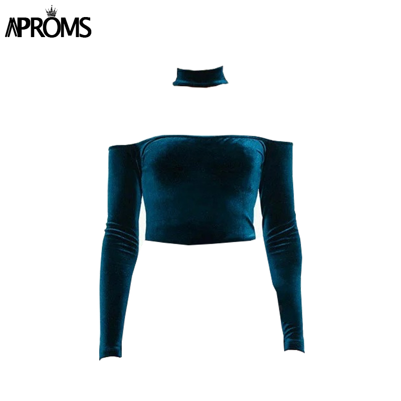 Aproms Sexy Halter Velvet T-shirt Women Tops Elegant Off Shoulder Long Sleeve Crop Top Female Casual Autumn Winter Tee Shirt