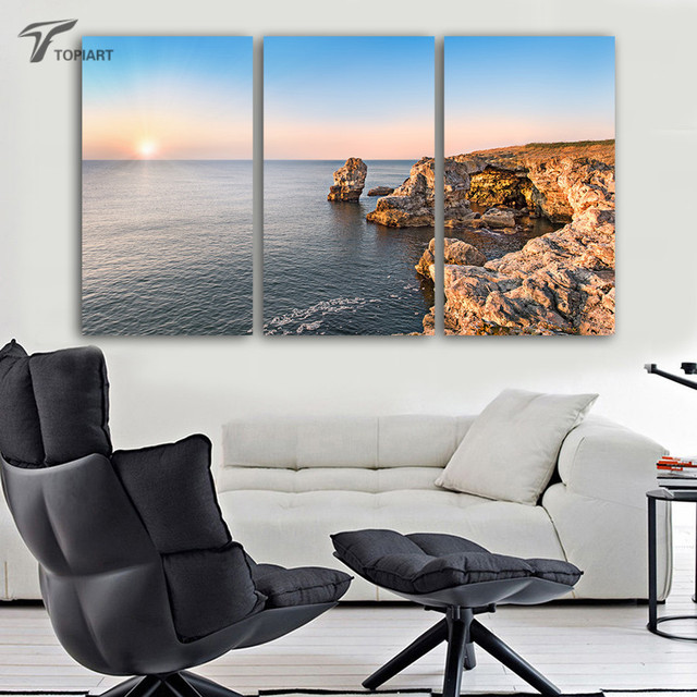Gentil Home Decor Picture Triptych Ocean View Sunrise Wall Art Large Pictures  Seashore Reefs Home Decor Painting