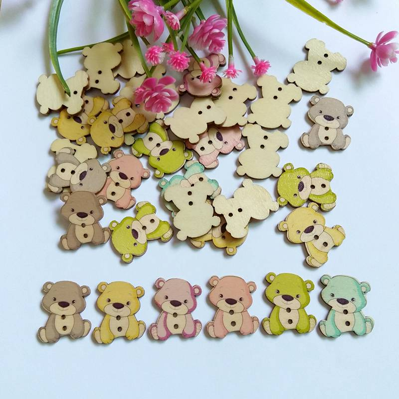 50pcs //set Mixed Colors Flower Buttons Fastener Wood Buttons Scrapbooking Sewing