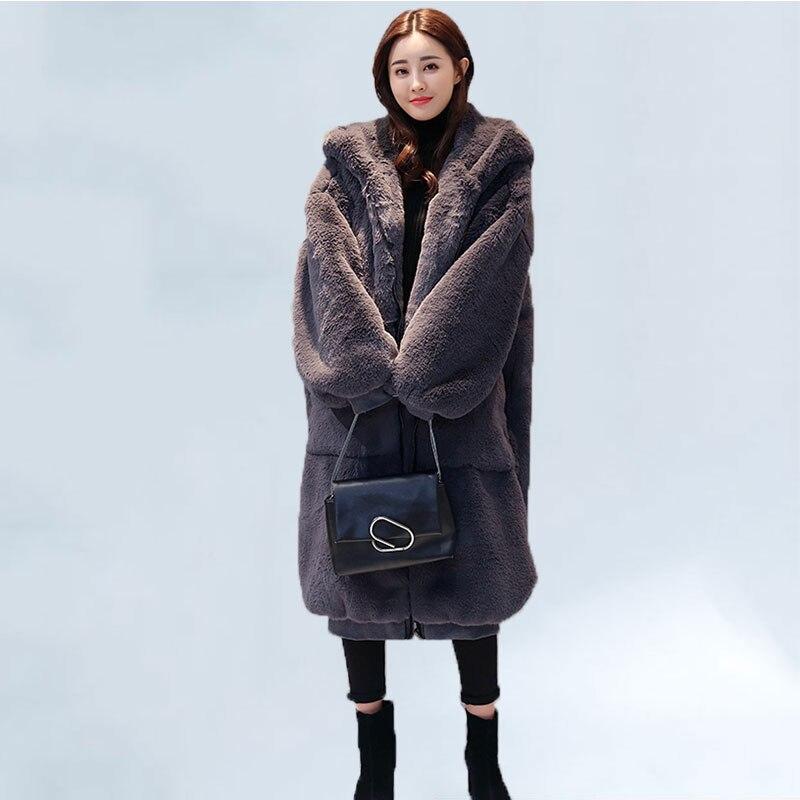 Oversized Winter Warm Hooded Jacket Women Thicken Long Coat Solid Color Faux Fur Coat Women Casual Women Fur Faux Jacket Outwear