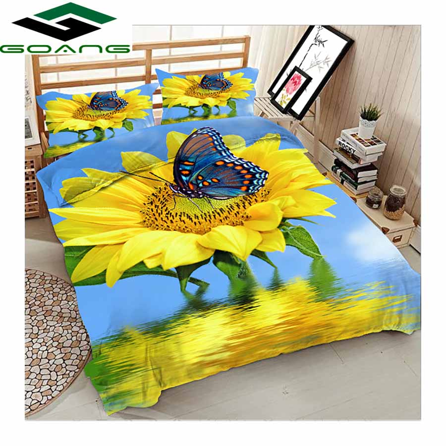 GOANG Luxury Bedding Set 3d Bed Sheet Duvet Cover Pillow Case Butterfly & Flowers 3pcs Hotel Bedding Home Textiles