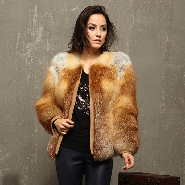 e748a43d72548 Luxury Winter Coats Women Fur Coat Natural Real Red Fox Fur Coat Jackets  Full Pelt Red Fox Fur Overcoat BF-C0409