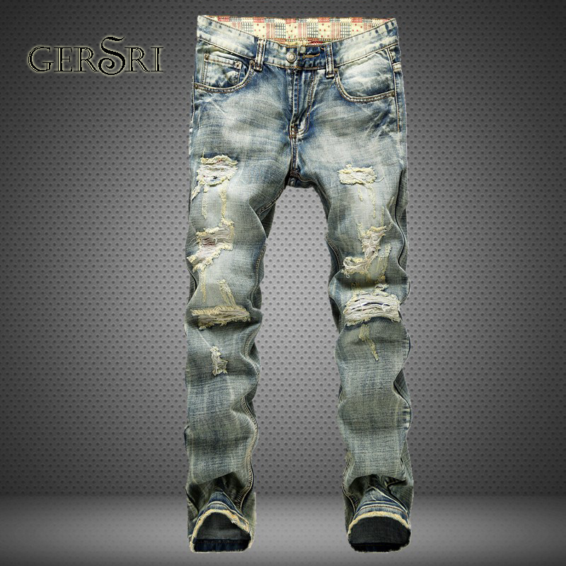 Gersri New Fashion Ripped Jeans Men With Holes Denim 100% Cotton Super Skinny Famous Big Pants Scratched Biker Jean Dropshipping