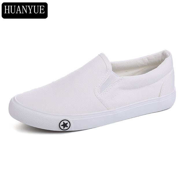 ac7c56d6a9 HUANYUE White Black Canvas Shoes Vulcanize New 2018 Fashion Women's Casual  Shoes Lazy Slip On Breathable Footwear Trainers
