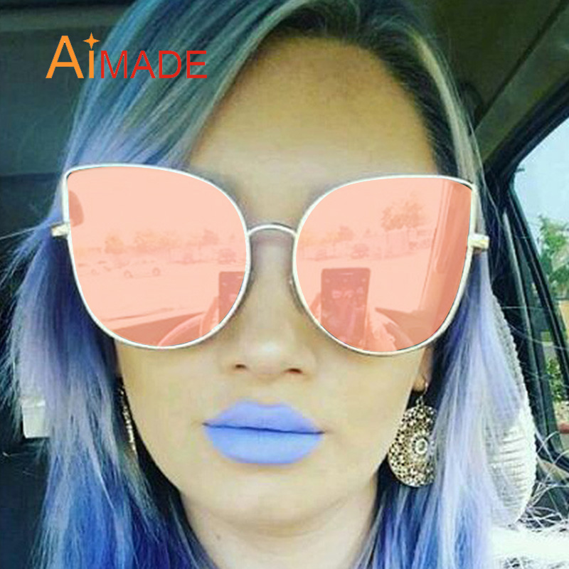 5e1a7641e9d01 Aimade 2018 New Ladies Big Cat Eye Sunglasses Fashion Women Rose Gold  Mirror Sun Glasses Vogue