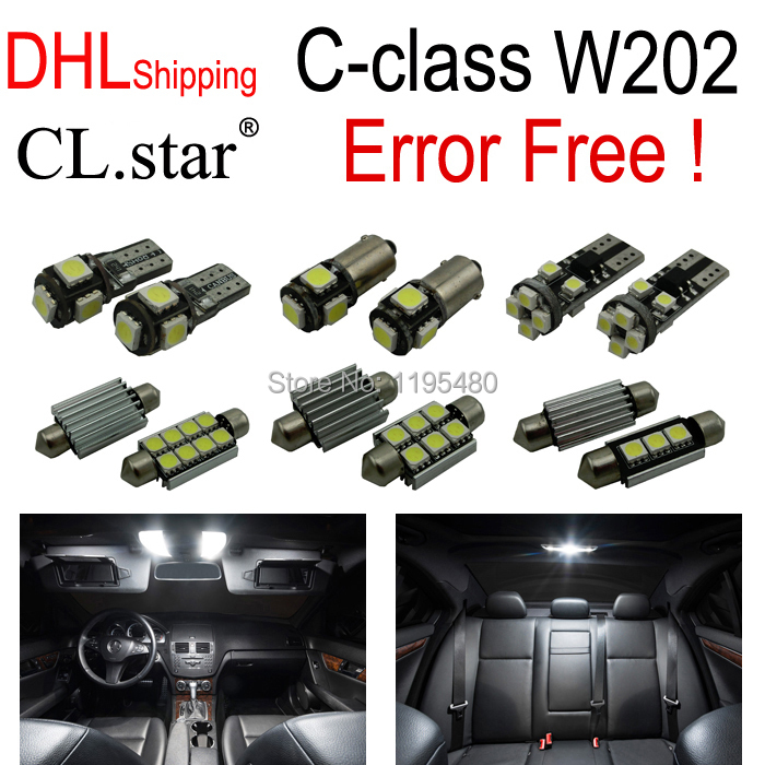 ФОТО 11pcs canbus No Error Interior LED dome Light Kit Package For Mercedes for Mercedes-Benz C class W202 C220 C230 C280 (1993-1999)