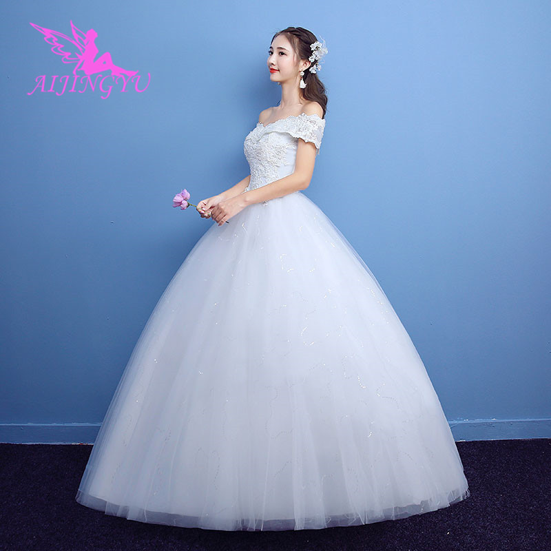 AIJINGYU 2018 Bridal Free Shipping New Hot Selling Cheap Ball Gown Lace Up Back Formal Bride Dresses Wedding Dress WK218