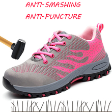 Safety Shoes Women In Work & Steel Toe Summer Breathable Mesh Industrial Construction Puncture Proof