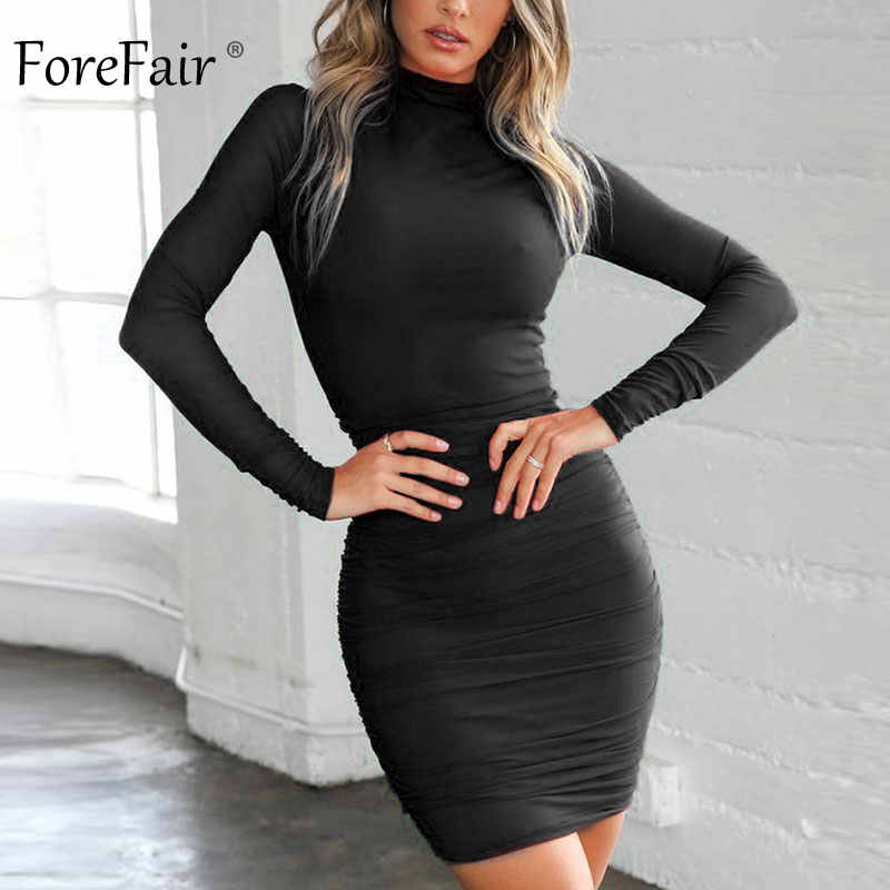 adef3e8f1f9 Forefair Winter Red Black Sexy Bodycon Dress Mini Turtleneck Long Sleeve  Ruched Skinny Wrap Short Party Club Dress Women