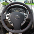 Black Leather Hand-stitched Car Steering Wheel Cover for Nissan QASHQAI X-Trail NV200 Rogue
