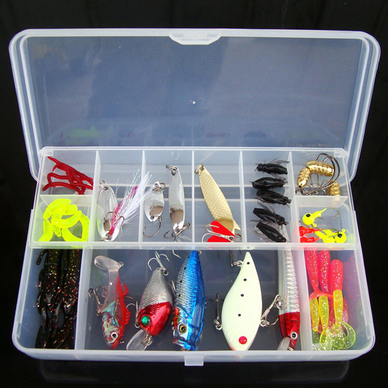 Fishing <font><b>Lure</b></font> Kit 50 Pieces Soft Hard Bait Spoon Minnow VIB Crankbait Jig Head Worm Accessories With Case