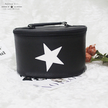 Rainbowgirl 2017 New Black  White Star Cosmetic Bag Good Quality Makeup Bag Hard Cosmetic Organizer Wholesale Price