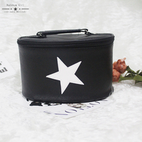 2017 New Black White Star Cosmetic Bag Good Quality Makeup Bag Hard Cosmetic Organizer Wholesale Price