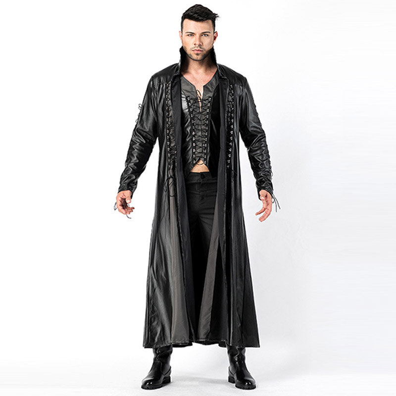 2018 New Adult Mens Halloween Vampire Costumes Faux Leather Outfits Fancy Party Devil Cosplay Dresses With Long Coat and Pants (4)