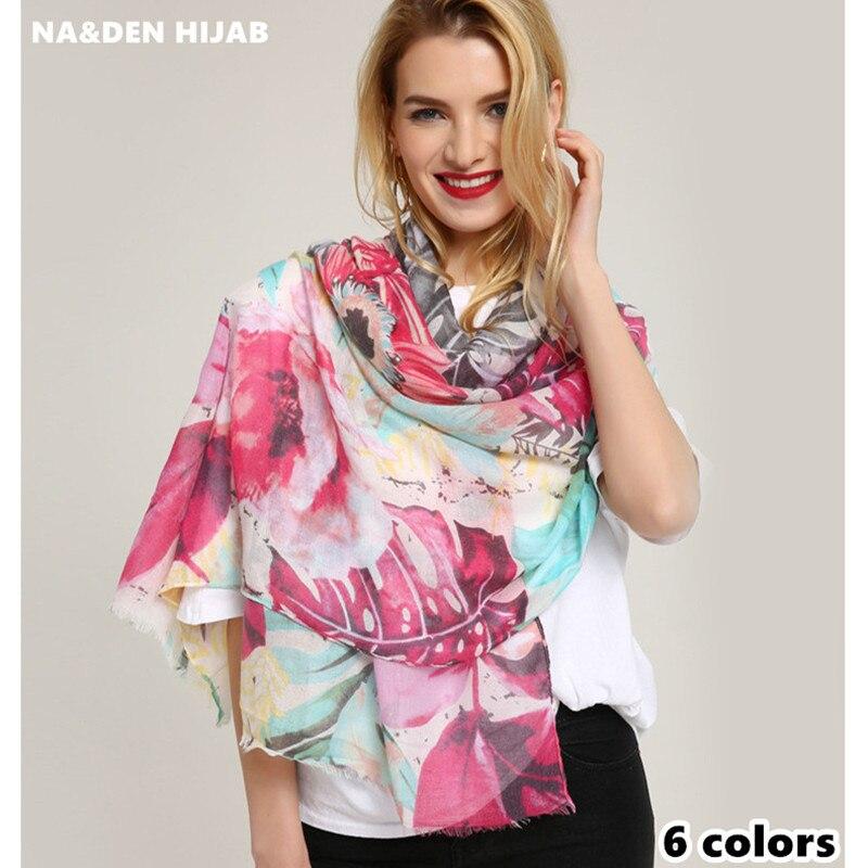 2018 vintage scarf flower pattern shawl brand Euro popular women scarves fashion muslim print hijab scarfs muffler high quality
