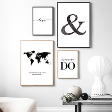 Black And White Posters Prints Minimalist Canvas Painting Abstract Poster Quote World Map Print Unframed