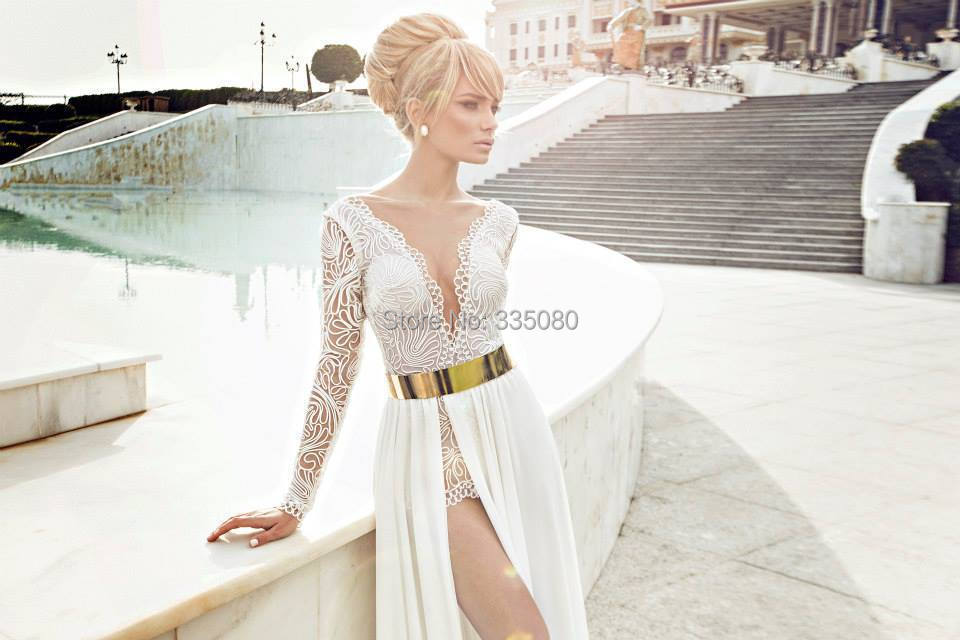 Custom Made V Neck See through Sheer Lace White High Side Slit Long Sexy  Gold Belt White 2015 Long Sleeve prom Dress-in Prom Dresses from Weddings    Events ... 75f0dfcfa5ab