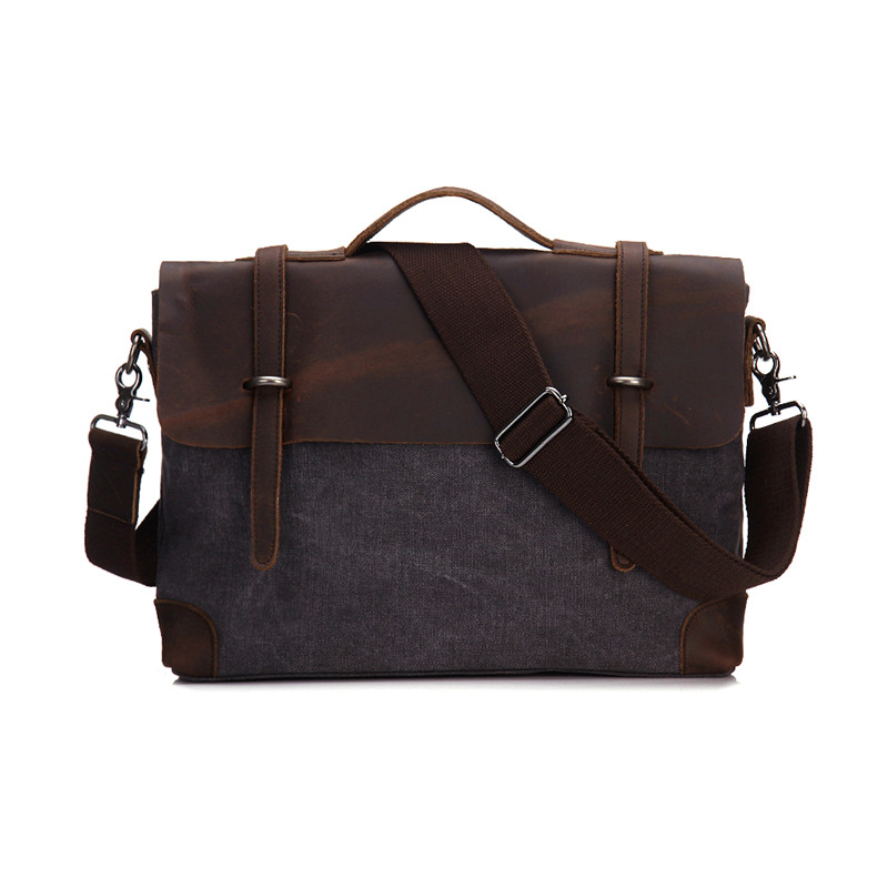 Vintage Canvas + Genuine leather Men messenger bag canvas shoulder Crossbody Bag men's briefcase Casual Male Portfolio #M6896 augur men s messenger bag multifunction canvas leather crossbody bag men military army vintage large shoulder bag travel bags