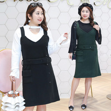 Pure color plus-size womens dress in the spring of 2018 big yards fashion clothing