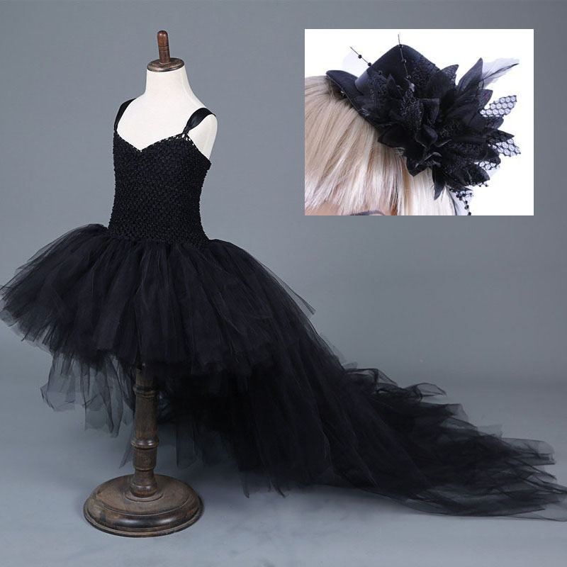 Fantasias Black Angel Costume for Girls Beautiful Princess Cosplay Carnival Evening Party Dress