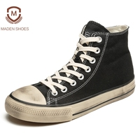 Maden 2018 Spring Summer Canvas Men Vulcanize Shoes High Top Sneakers Old Dirty Design Shoes High