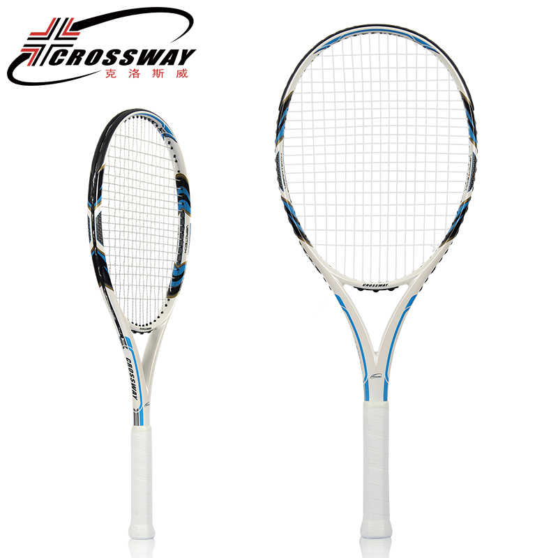 CROSSWAY Professional Tennis Racket Ultra-Light Full Carbon Tennis Paddle Integrated Training Game Racket Shock Absorber Handle