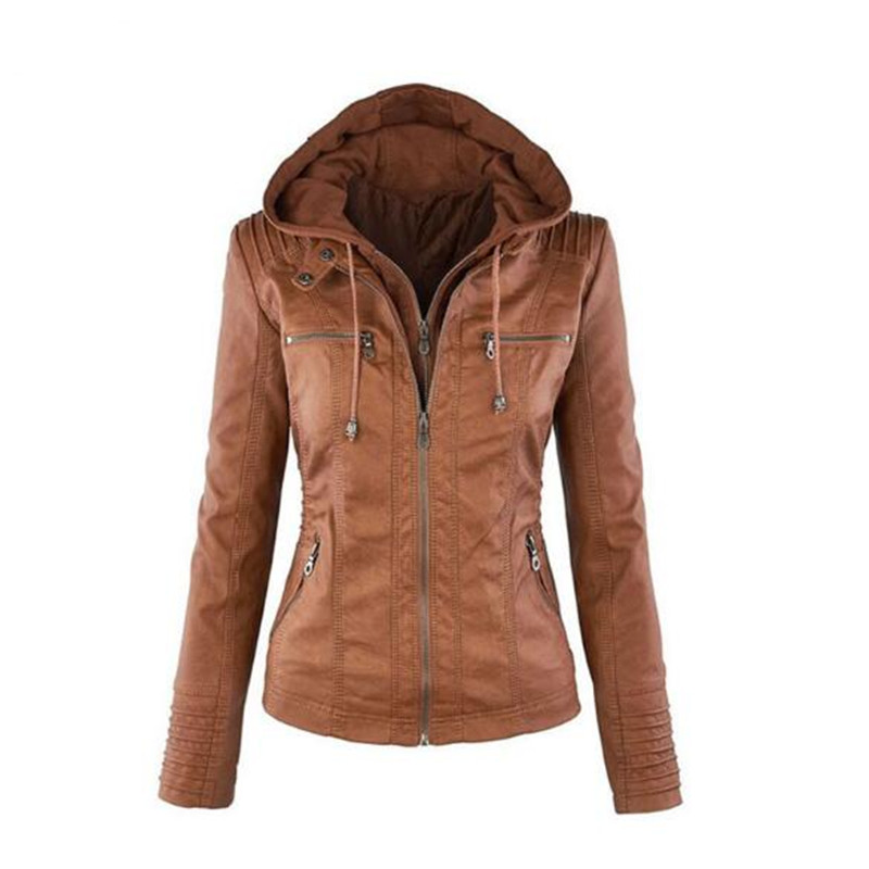 Women's hoodies Bella Philosophy, motorcycle jacket with a turn-down collar, outerwear made of artificial   leather  , jacket for wi