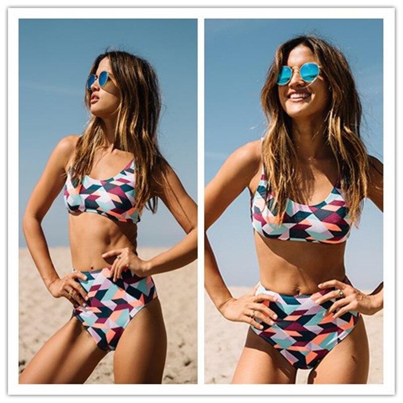 2017 hohe Taille Vintage Bikini Set Badeanzug Badeanzug Badebekleidung Für Frauen