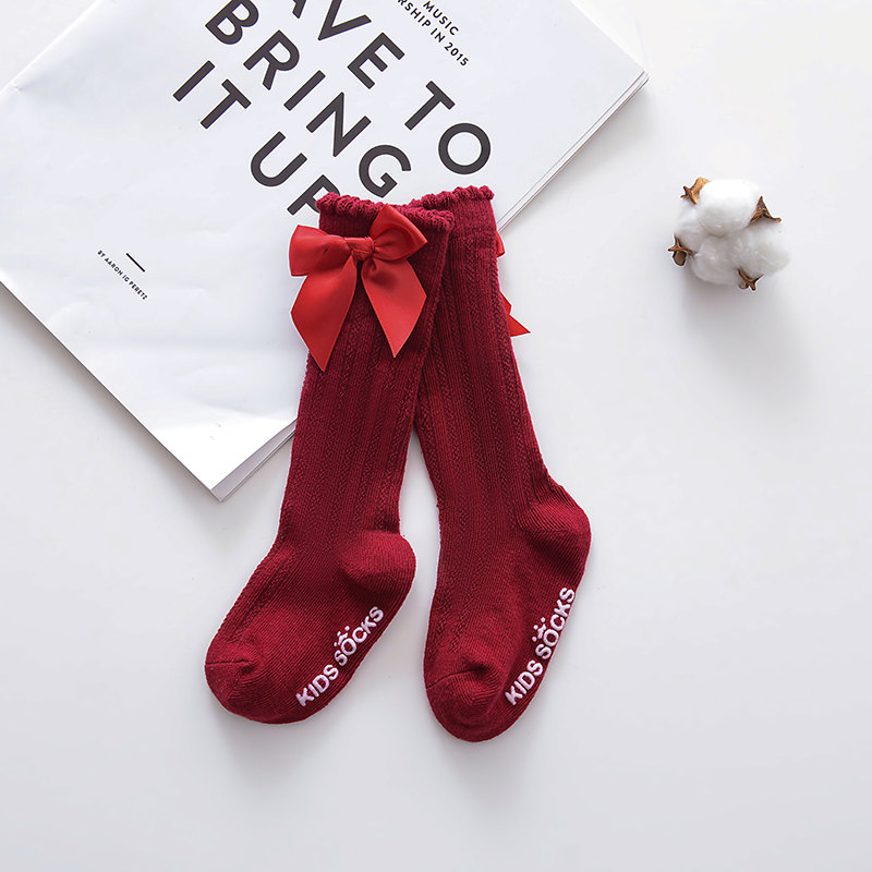Новые детские носки гольфы с большим бантом для маленьких девочек, мягкие хлопковые кружевные детские носки kniekousen meisje, Прямая поставка#30 - Цвет: bowknot red