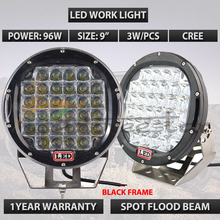 96W Black Led driving light 9inch 9 Round led work light Red led offroad lights 8200Lumens