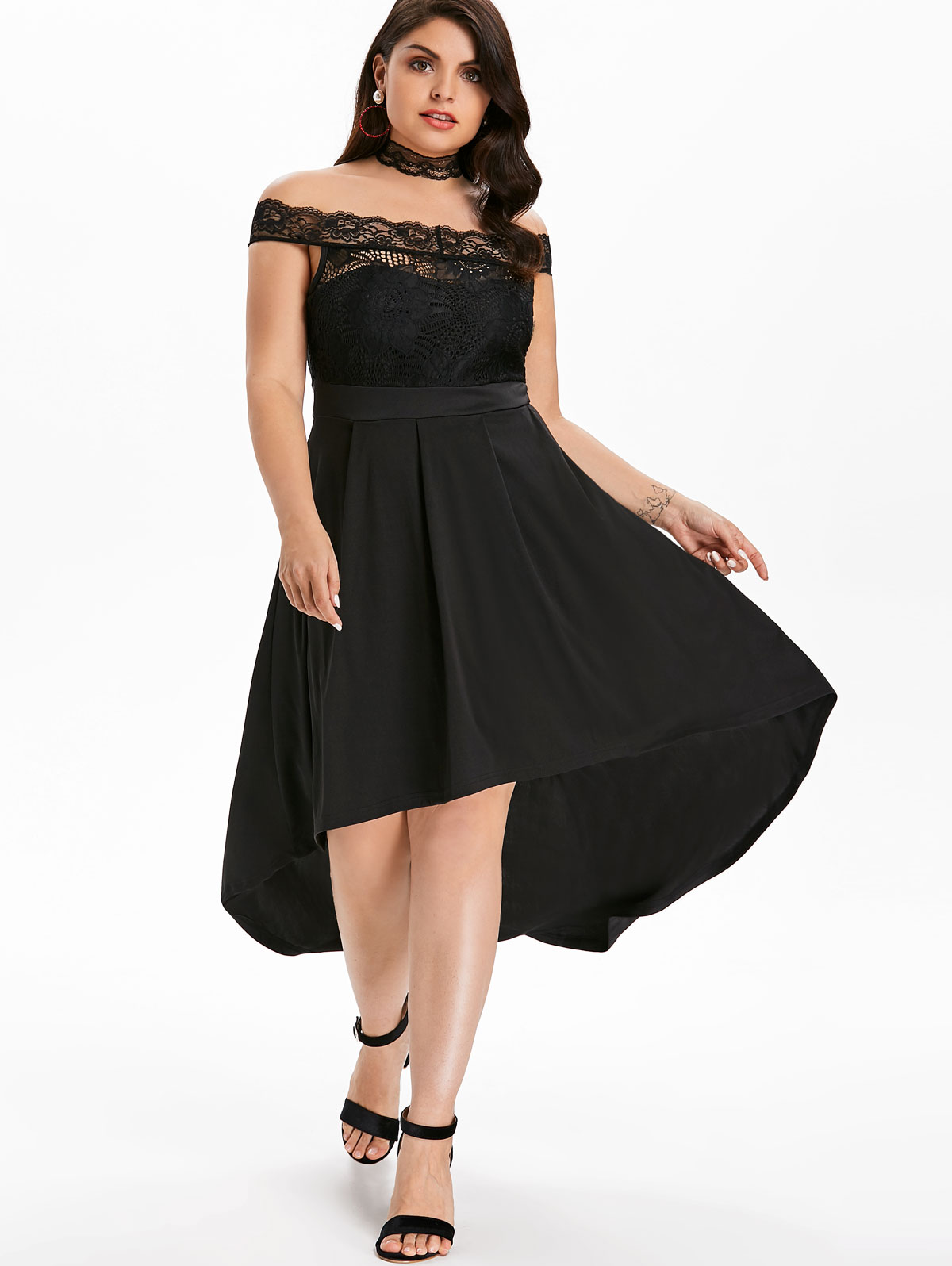 7fd9fcea43 Dresses Length: Ankle-Length Neckline: Off The Shoulder Sleeve Length:  Short Sleeves Embellishment: Lace Pattern Type: Solid With Belt: No