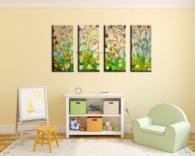Large canvas wall art Modern acrylic painting vintage vertical ...
