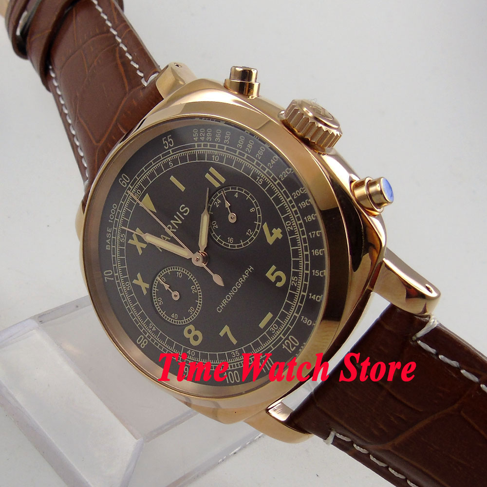 Luxury Parnis men's watch 44mm Golden case coffee dial Full chronograph quartz movement wrist watch men 676 orlando z400 golden case quartz watch for men
