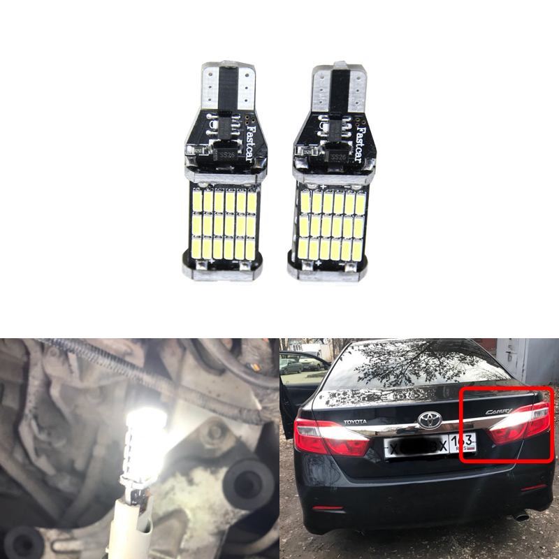 2x T15 Led W16W Car Led 912 921 Backup Reverse Lights Bulb For Toyota Corolla Yaris RAV-4 Highlander Auris Camry <font><b>Prius</b></font> Sienna image