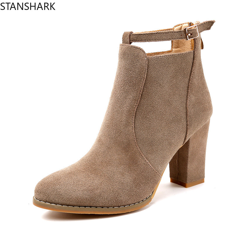 2019 Fashion New Woman Autumn Winter Boots High Heels Women Leather Ankle Boots Sexy Pointed Toe Suede Boots Plus Size 35-422019 Fashion New Woman Autumn Winter Boots High Heels Women Leather Ankle Boots Sexy Pointed Toe Suede Boots Plus Size 35-42