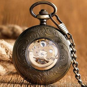 Image 5 - Kendini rüzgar cep saati bakır moda bronz kolye pürüzsüz Retro İskelet Unisex otomatik mekanik şık şükran hediye