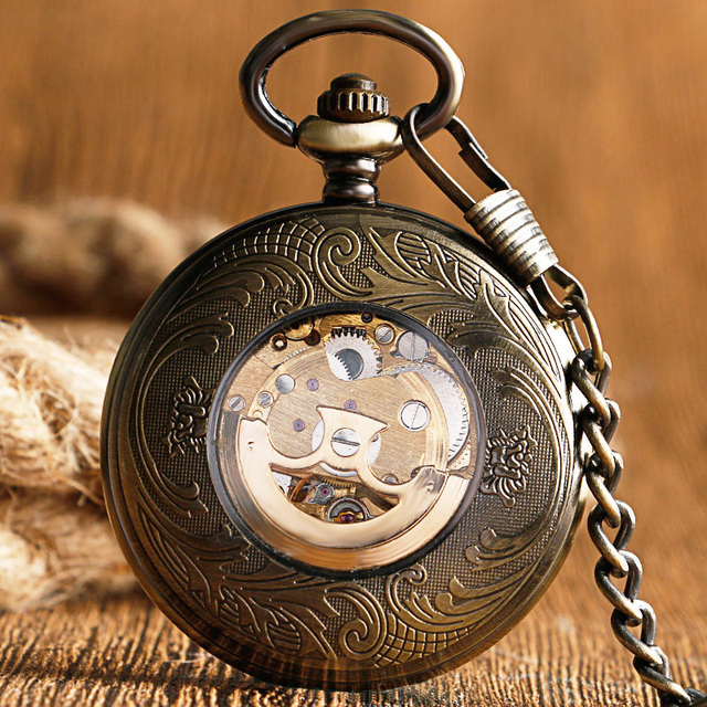 Self Wind Pocket Watch Copper Fashion Bronze Pendant Smooth Retro Skeleton Unisex Automatic Mechanical Stylish Thanksgiving Gift