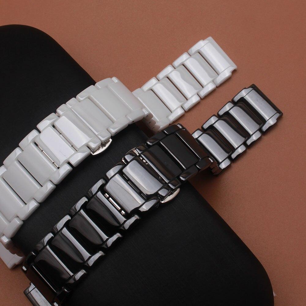 Replacement Ceramic Watchband straps adapter HUAWEI watchband 21*18mm MEN's watch Strap bracelet black&White iWatch accessories