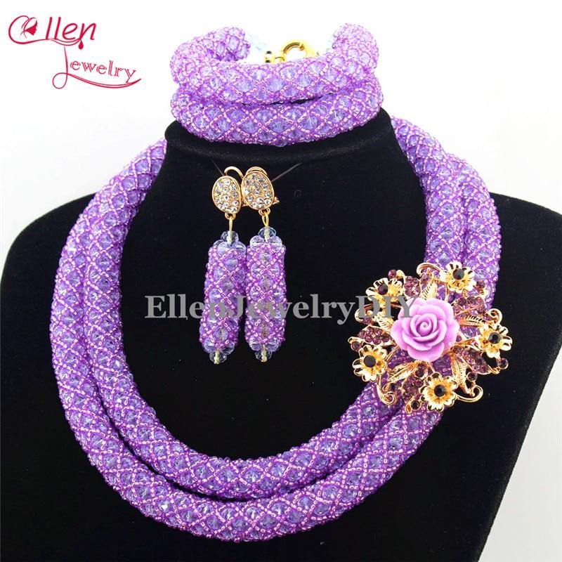 Latest Fashion Lilac Purple African Wedding Beads Necklace Set ...