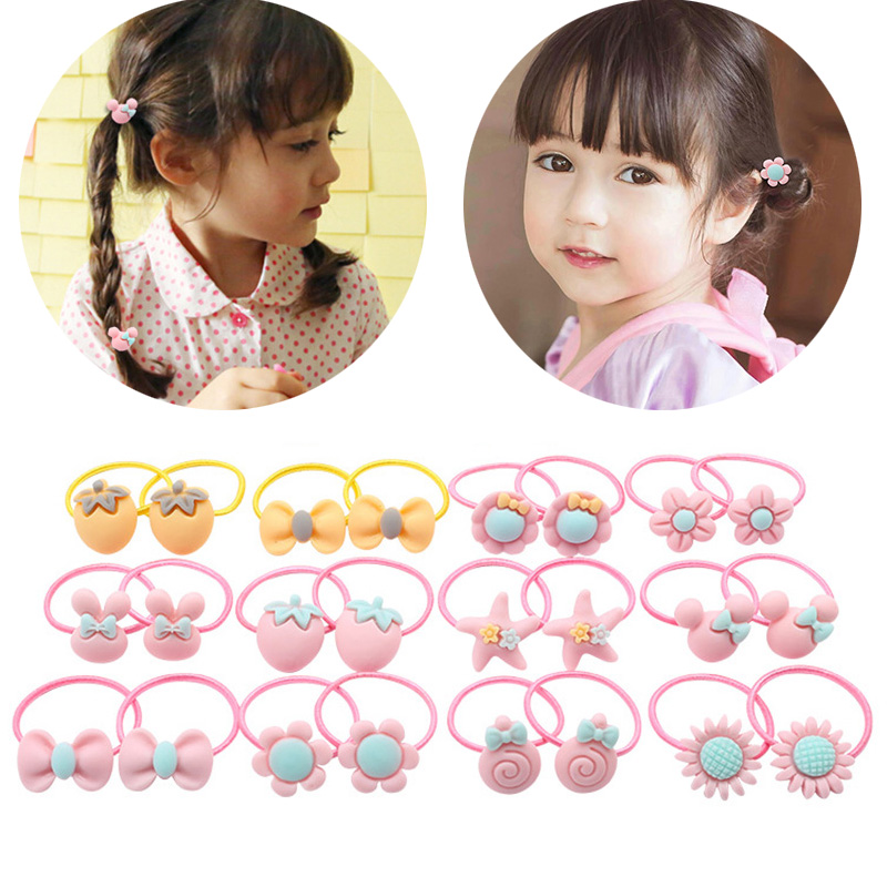 Hot Sale 2PCS New Arrival Cute Macarons Color Girls Chilren Hair Rope Elastic Hair Bands Gifts