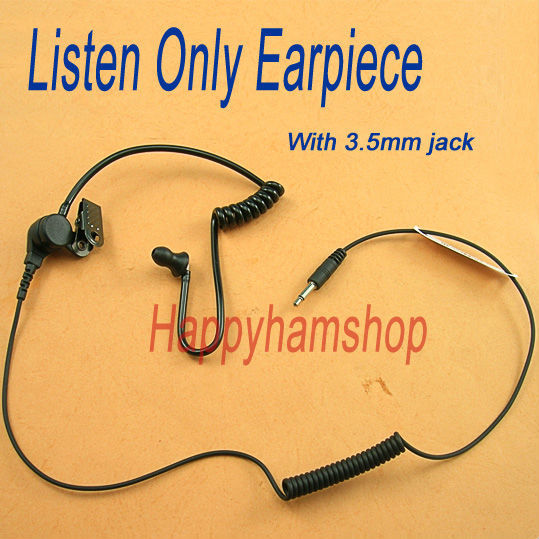 Black air  tube Listen only earphone with 3.5mm jack plug --Free shipping