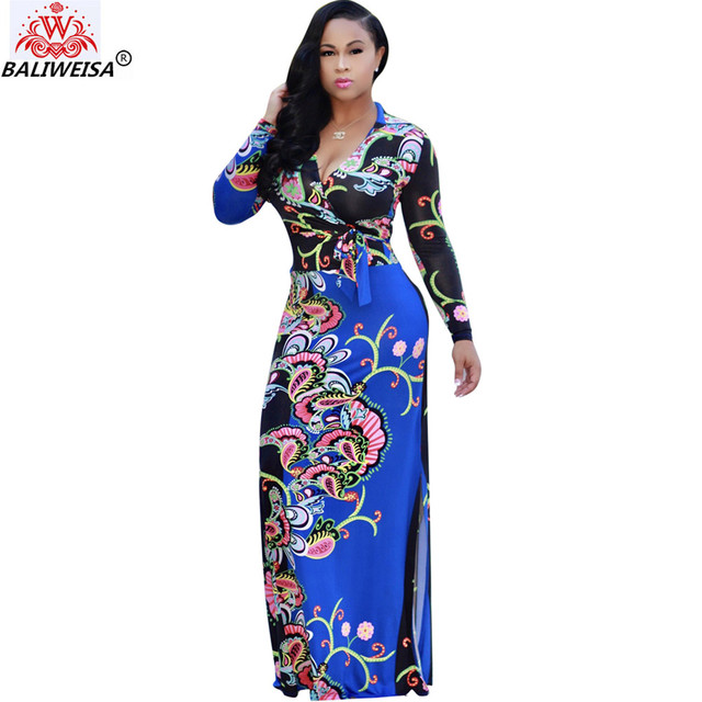 BALIWEISA Floral Printing Long Wrap Dress Women Elegant Long Sleeve Side  Split Maxi Dress Sexy V e7697d3278fc