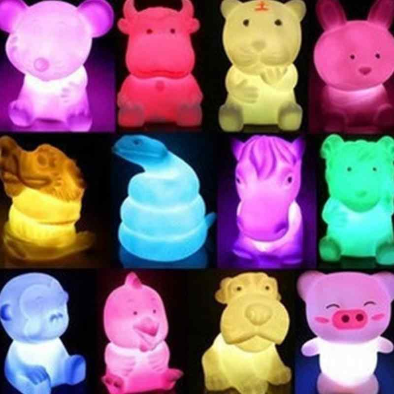 Romantic Novelty Chinese Style lovely 12 zodiac animal shaped Long-lasting LED 7 color changing Night light luminaria home decor