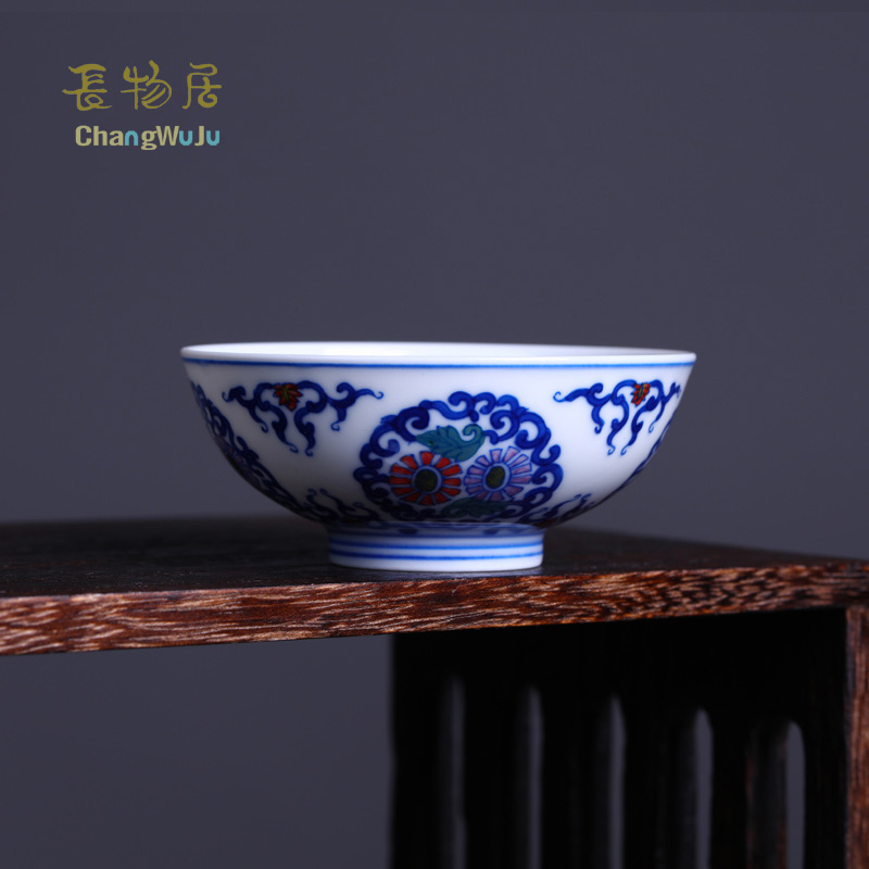 Changwuju in Jingdezhen Cups &Saucer handmade blue and white Kung-Fu tea ware of the undergalzed five-color tea cup for host use
